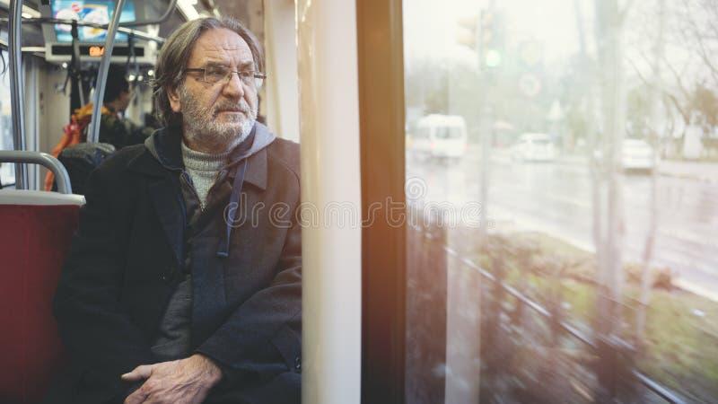 Man in the metro train. Man in the metro  train royalty free stock photo