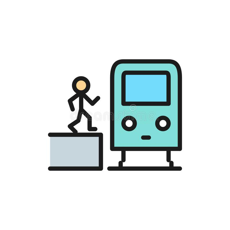 Man in metro, waggon on platform, train, subway station flat color line icon. Vector man in metro, waggon on platform, train, subway station flat color line vector illustration