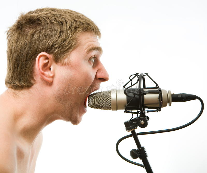 Download Man with microphone stock photo. Image of vintage, microphone - 11665208