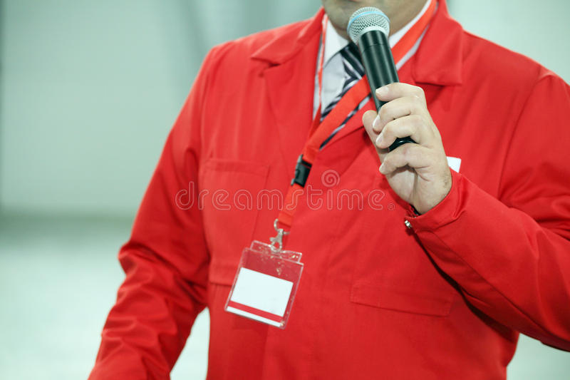 Man with microphone stock images