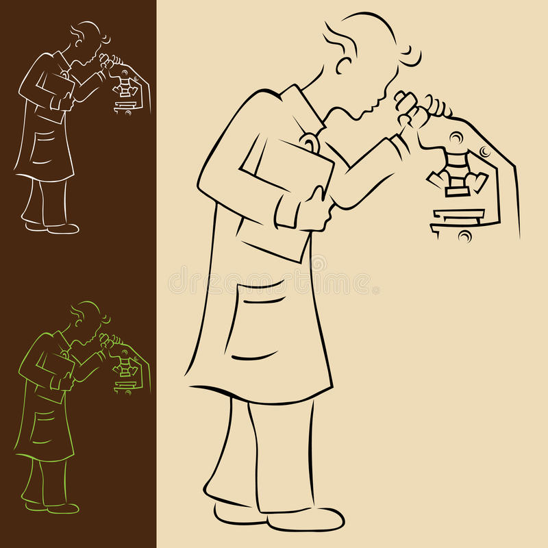 Man and Microscope royalty free illustration