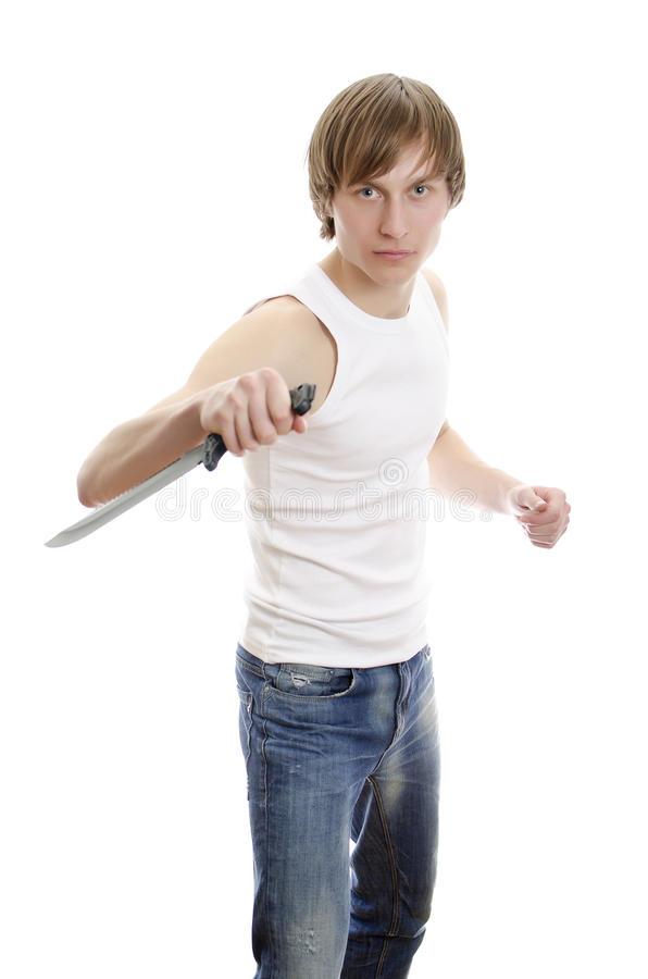 Download Man with military knife. stock photo. Image of weapon - 23968184