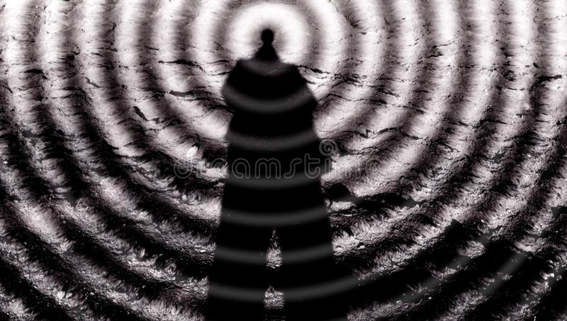 Man-mind, telepathy, the third eye and paranormal abilities, yoga skills, horror voodoo, super-strength royalty free stock images