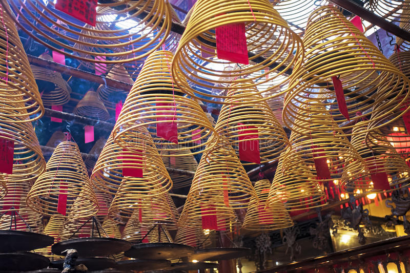 Man Mo Temple, the famous Taoist temple in Hong Kong. Incense burning in the Man Mo Temple, the most famous Taoist temple in Hong Kong China royalty free stock image