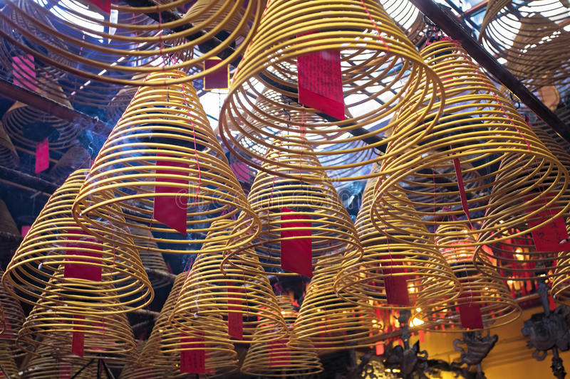 Man Mo Temple, the famous Taoist temple in Hong Kong. Incense burning in the Man Mo Temple, the most famous Taoist temple in Hong Kong China royalty free stock photo