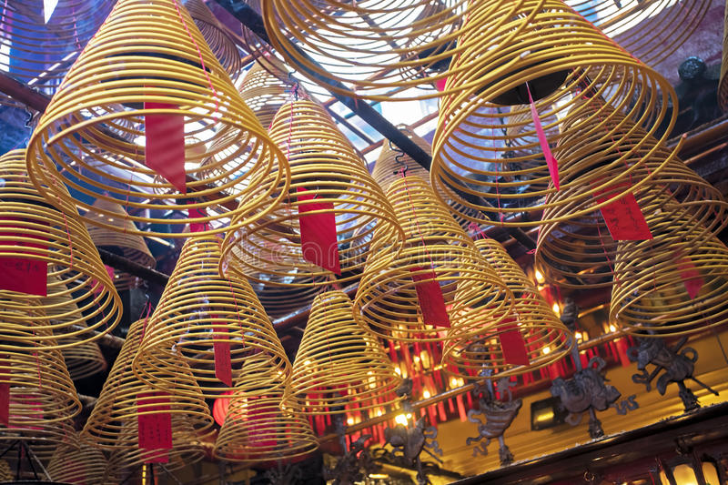 Man Mo Temple, the famous Taoist temple in Hong Kong. Incense burning in the Man Mo Temple, the most famous Taoist temple in Hong Kong China stock photos