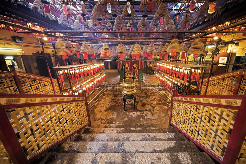Man Mo Temple, the famous Taoist temple in Hong Kong. Incense burning in the Man Mo Temple, the most famous Taoist temple in Hong Kong China royalty free stock photos