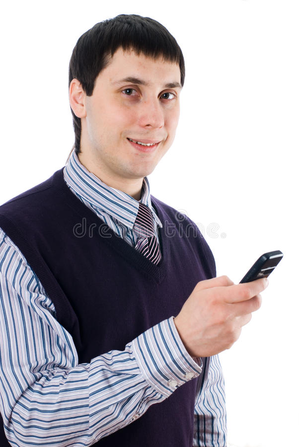 Man with mobile phone. Young businessman writing message on mobile phone at isolated background stock photos