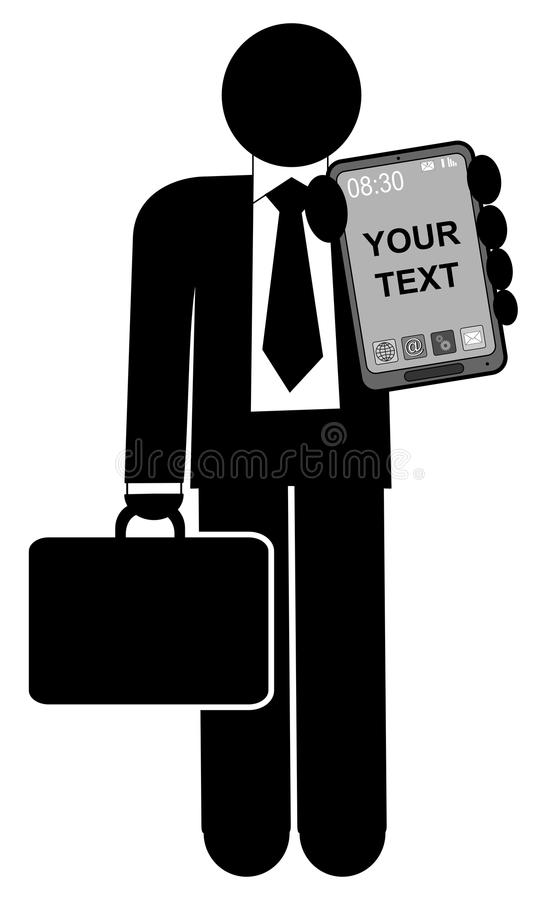 Man with mobile phone vector illustration