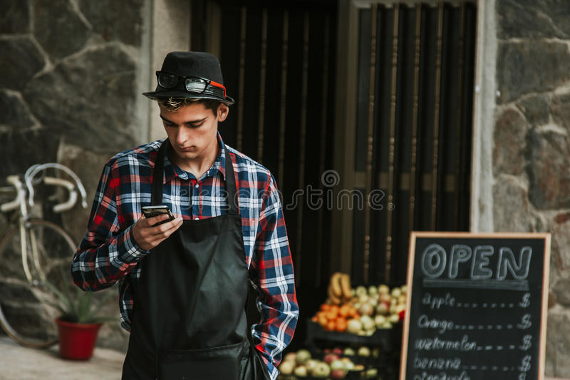 Man mobile store royalty free stock images