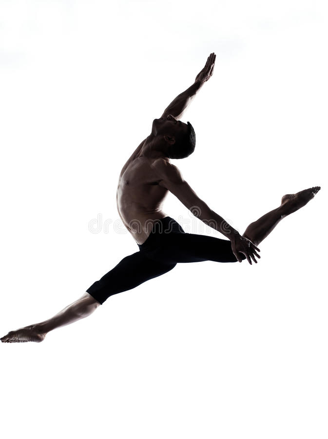 Man modern ballet dancer dancing gymnastic acrobat stock photo
