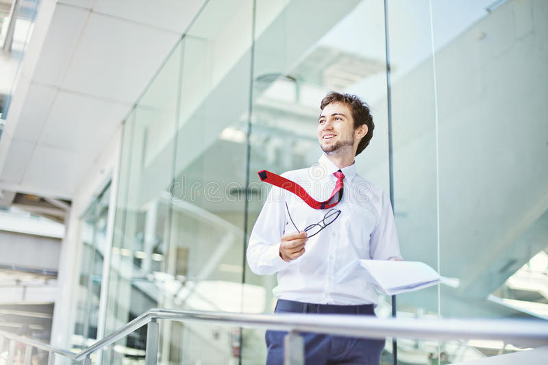 Man in the modern office stock photography
