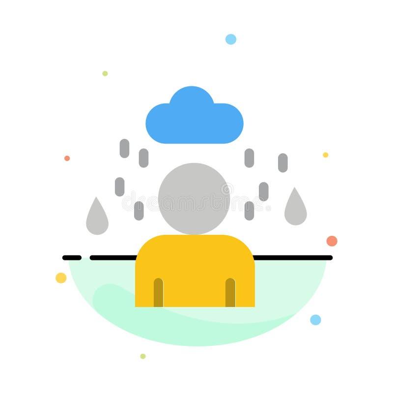 Man moln, regnig abstrakt plan färgsymbolsmall vektor illustrationer