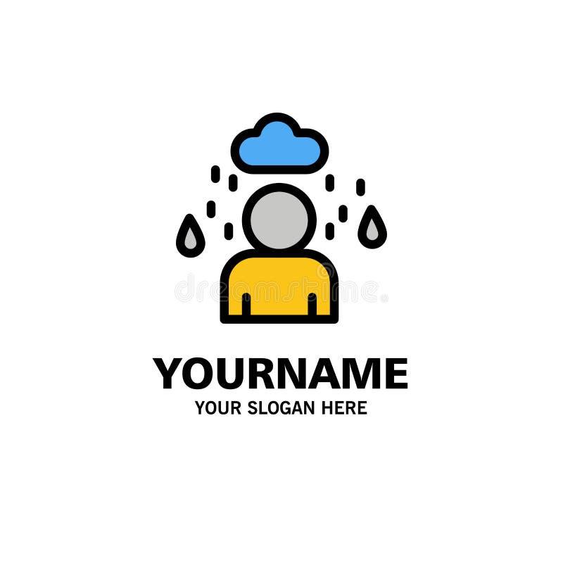 Man moln, regnig affär Logo Template plan f?rg stock illustrationer