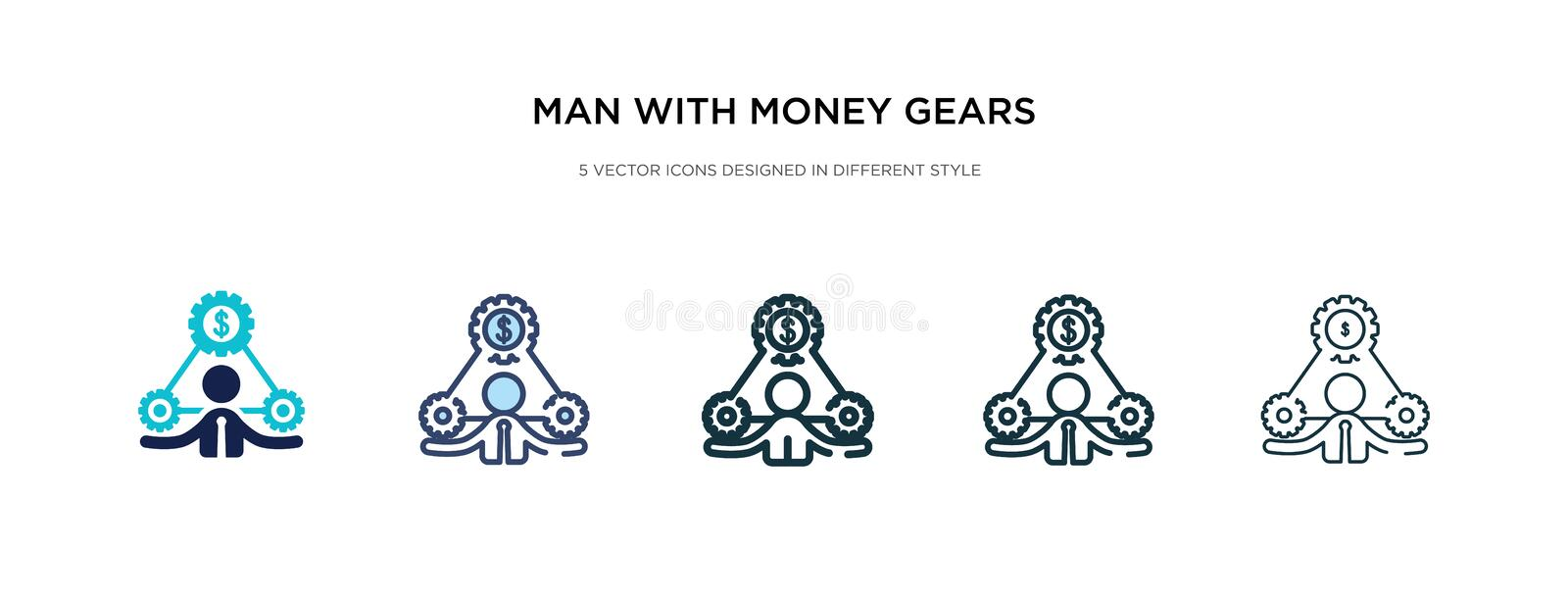 Man with money gears icon in different style vector illustration. two colored and black man with money gears vector icons designed stock illustration