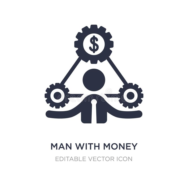 man with money gears icon on white background. Simple element illustration from Business concept vector illustration