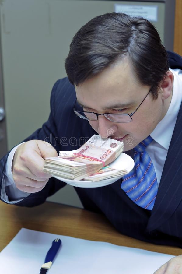 Man and money. Office thoughts stock images