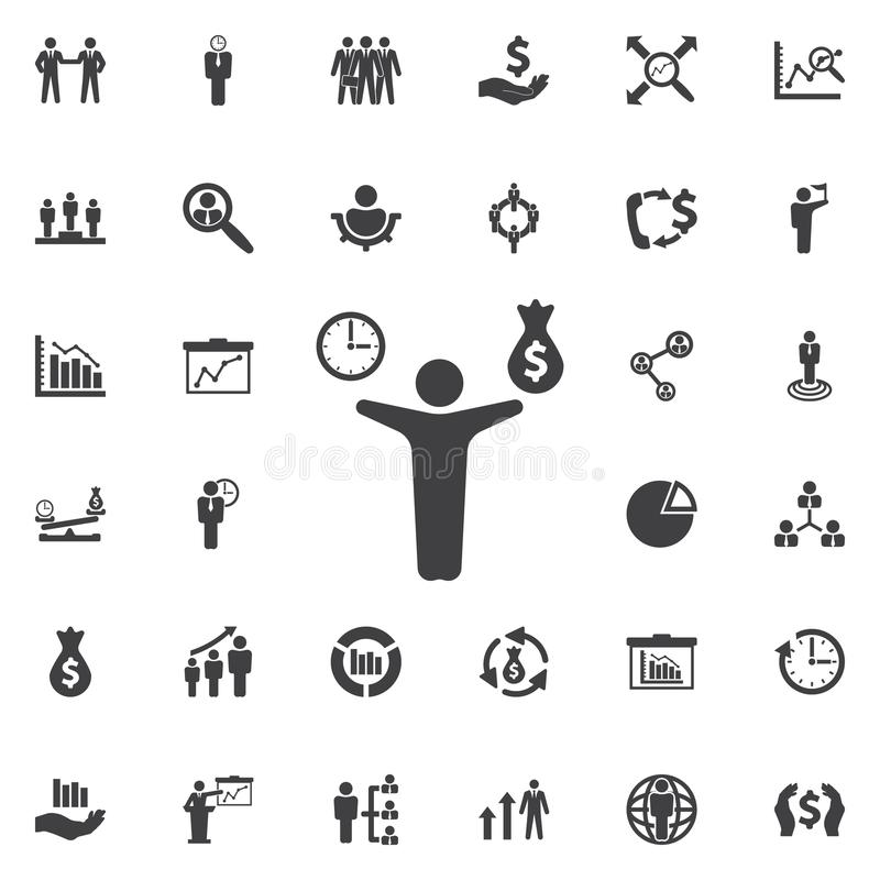 Man, money and time icon. vector illustration