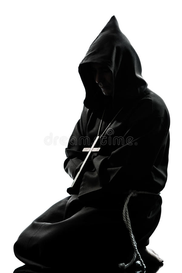 Man Monk Priest Silhouette Praying Royalty Free Stock Photos