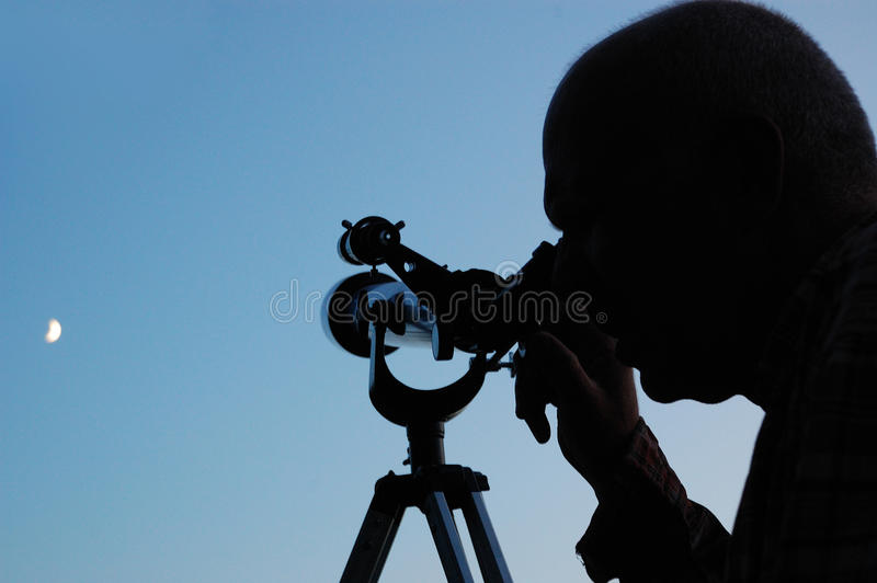 Download Man and the moon stock photo. Image of watching, education - 10079138