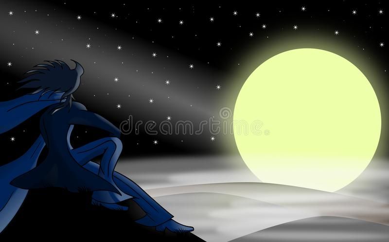 Man and the moon. A man is watching the moon in a foggy night vector illustration