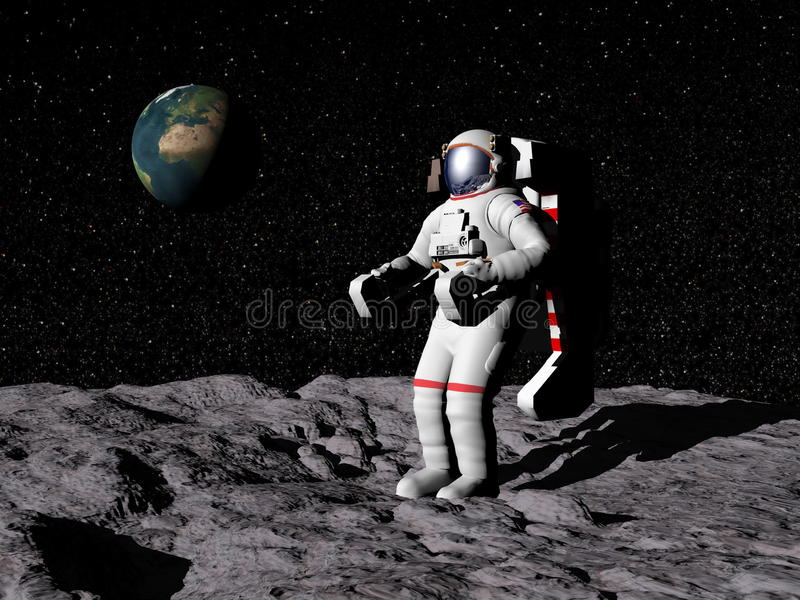 Man on the moon - 3D render vector illustration