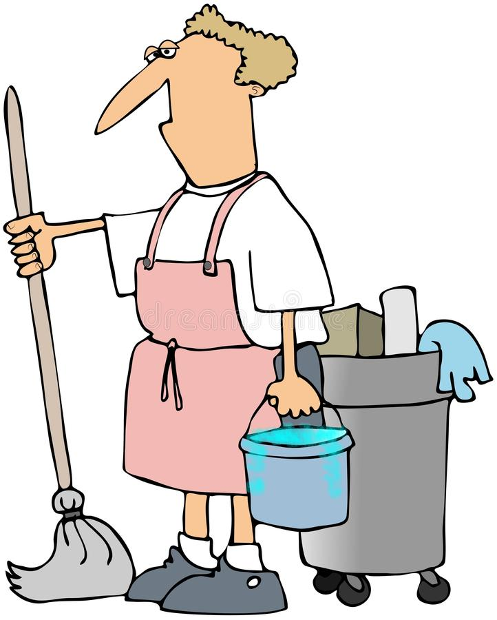 Download Man With A Mop stock illustration. Image of bucket, janitor - 17550972