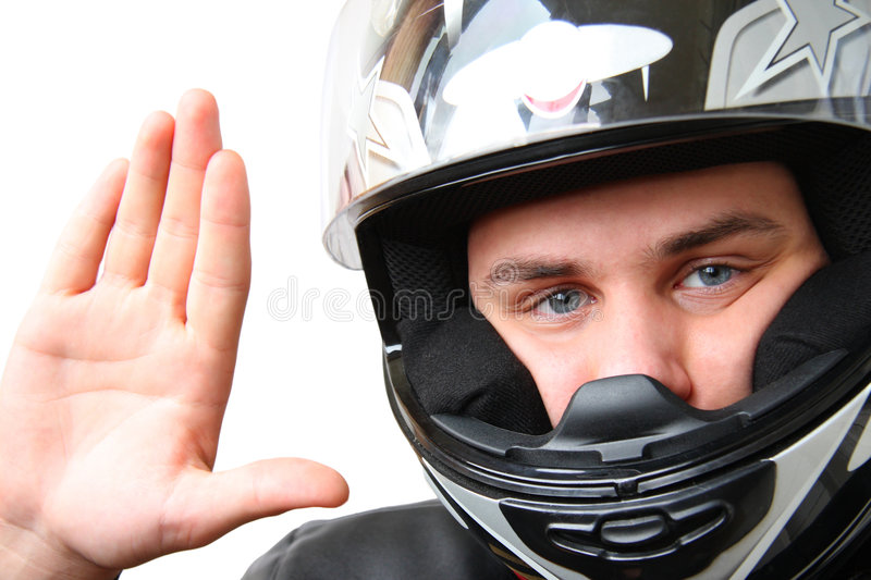 Man In Motorbike Helmet Royalty Free Stock Photo