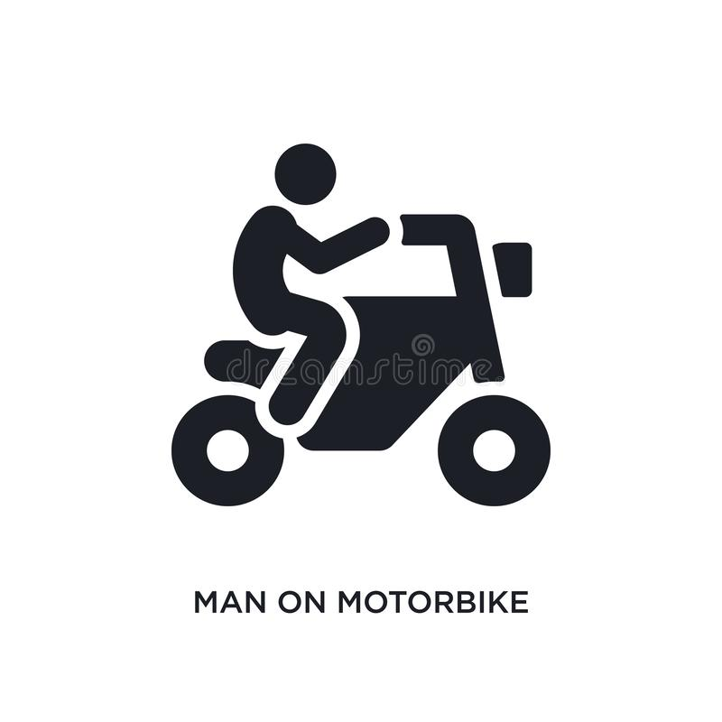 man on motorbike isolated icon. simple element illustration from ultimate glyphicons concept icons. man on motorbike editable logo royalty free illustration