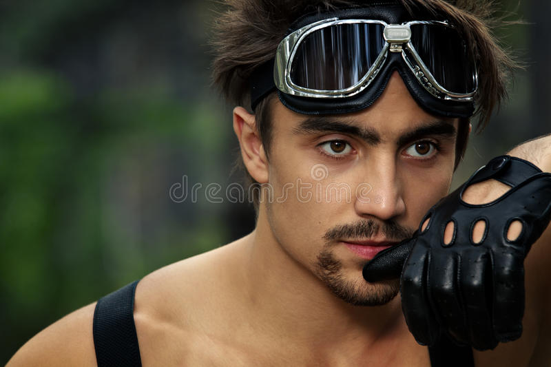 Download Man With Motorcycle Goggles And Gloves Stock Photo - Image: 28856214
