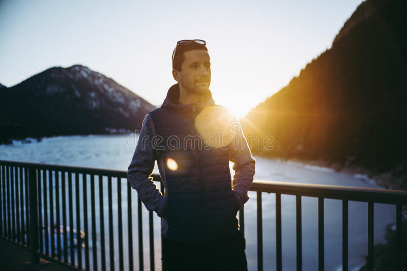 Man on mountain landscape royalty free stock photography