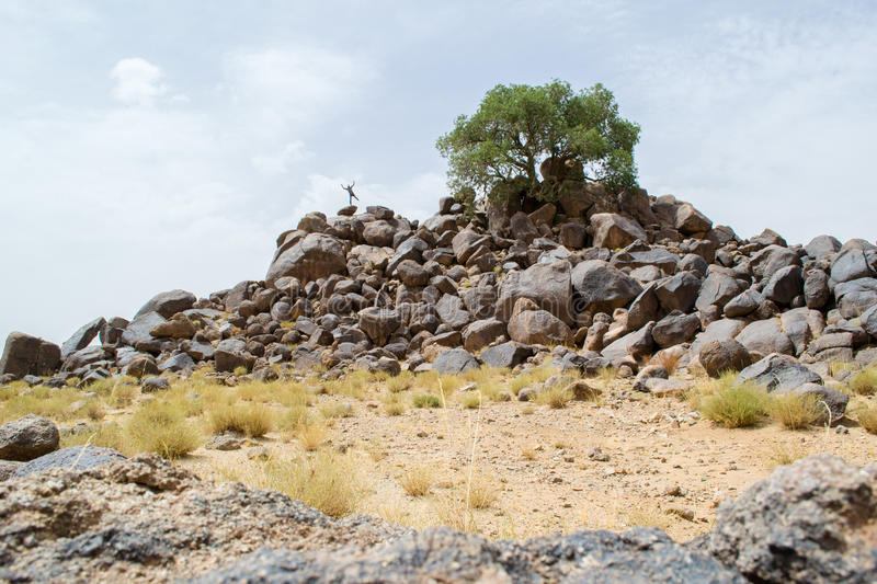 Man on a mountain of rocks in the desert. Man standing on one leg on a mountain of rocks in the desert royalty free stock image