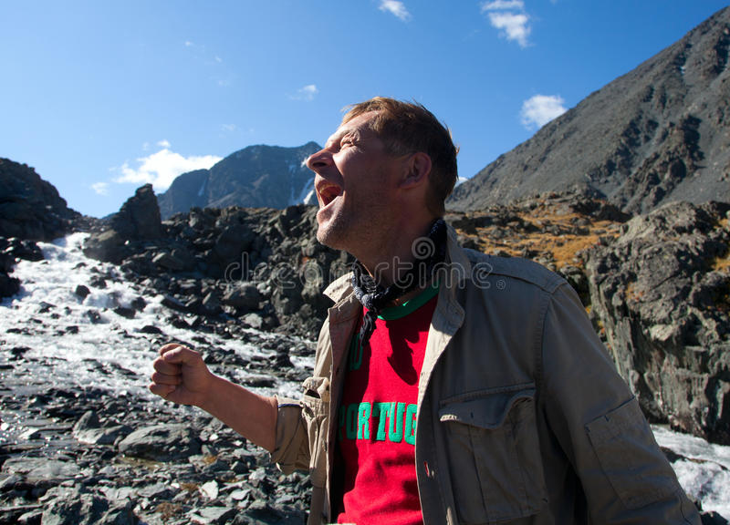 Download The man in the mountains stock image. Image of extreme - 23346801