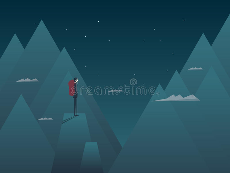 Man and mountains concept hiking, climbing or mountaineering. Person with backpack at night on top of peaks. vector illustration