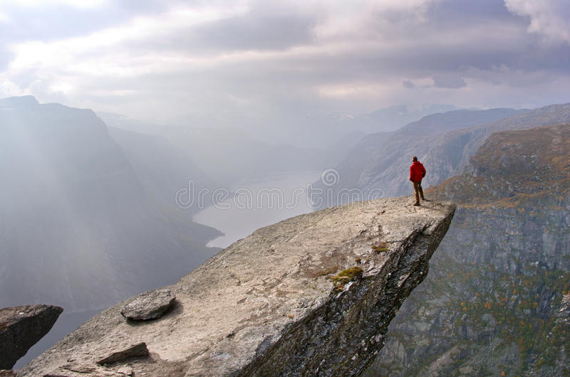 Man in mountains, Norway stock image