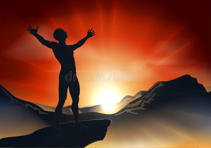 Man on mountaintop with arms out vector illustration