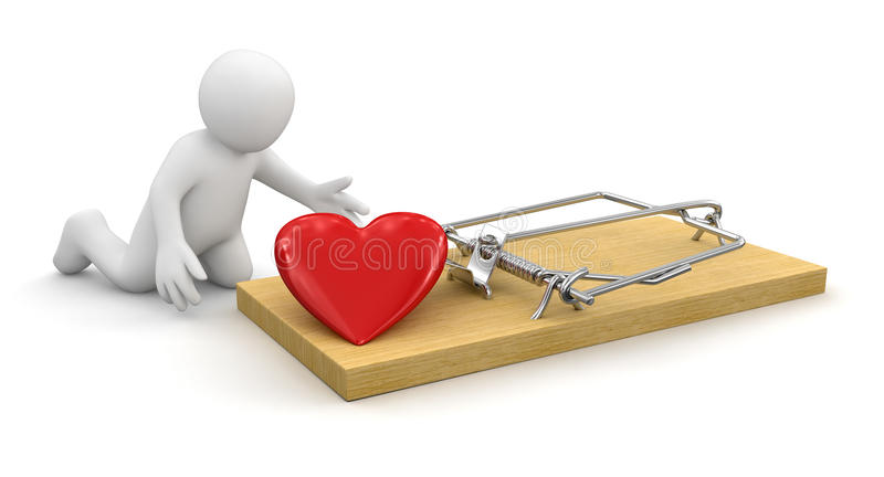 Man and Mousetrap with heart (clipping path included) royalty free illustration