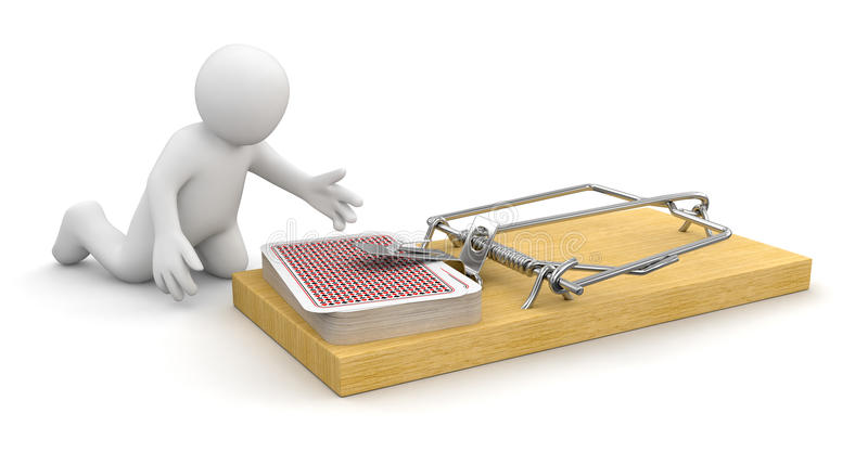 Man And Mousetrap With Playing Cards (clipping Path Included) Stock Images
