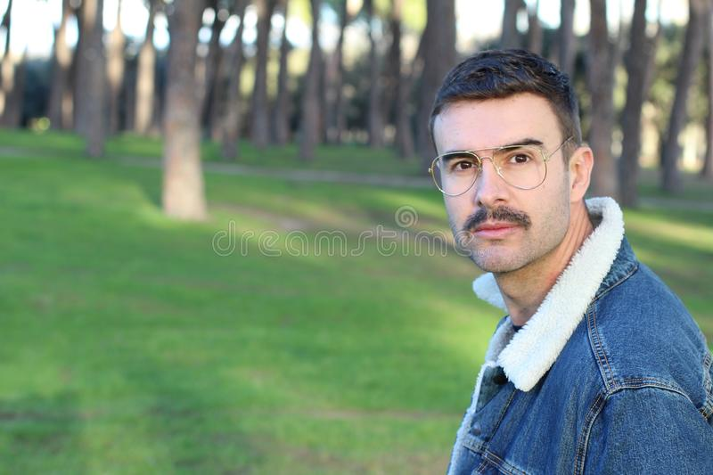 Man with moustache close up royalty free stock images