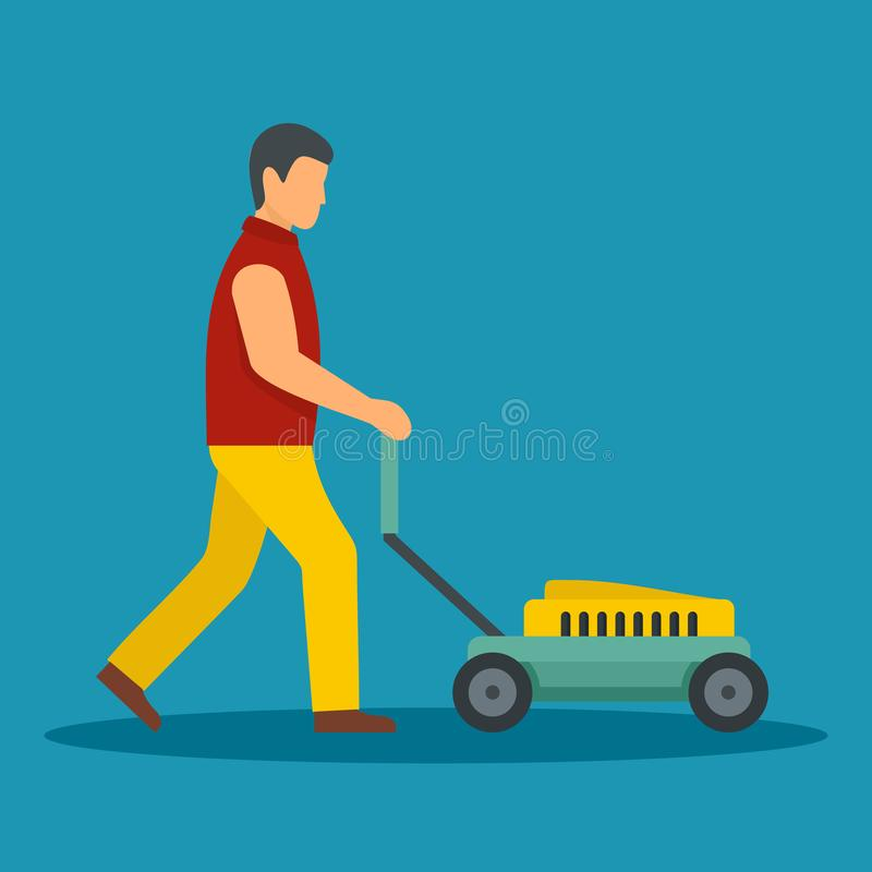 Man move the lawn mower icon, flat style. Man move the lawn mower icon. Flat illustration of man move the lawn mower icon for web design stock illustration