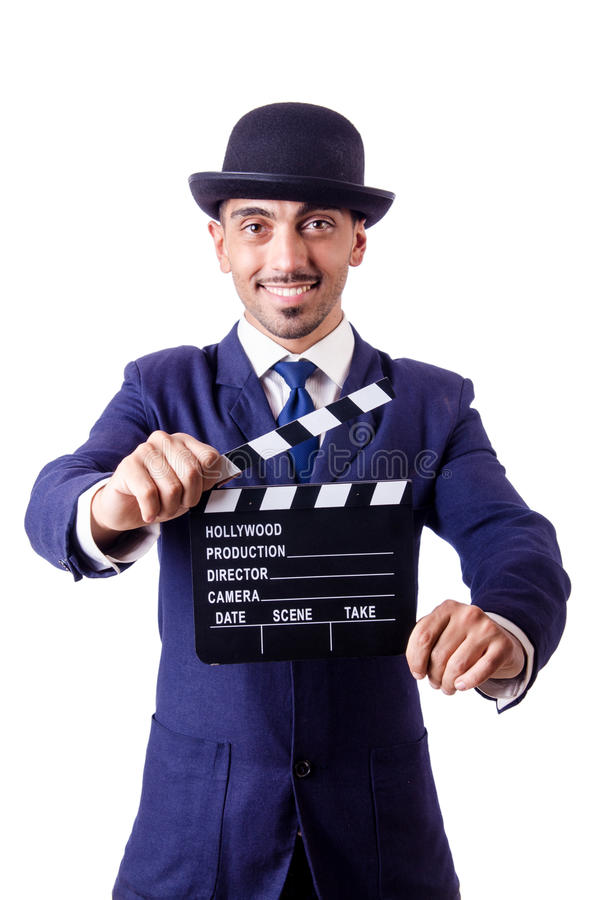 Download Man with movie clapper stock photo. Image of blackboard - 29368410