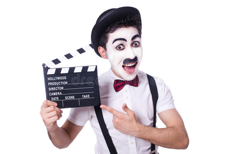 Download Man with movie clapper stock photo. Image of isolated - 34469330