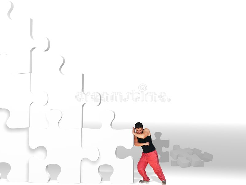 Download Man Moving Big Puzzle Pieces Stock Photo - Image: 6265222