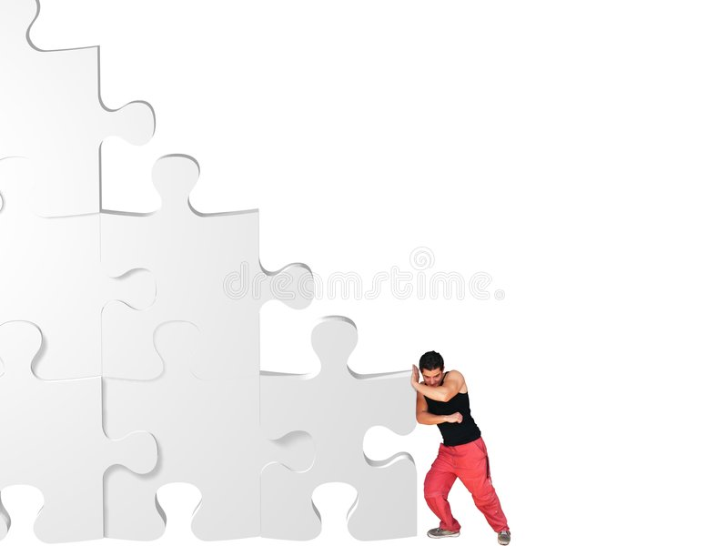 Download Man moving jigsaw pieces stock image. Image of leans, stacked - 6265225