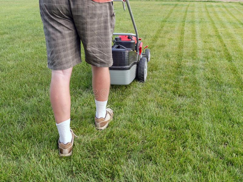Man mowing grass royalty free stock photography