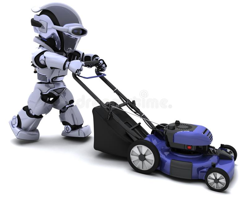 Man Mowing the Lawn. 3D render of a man mowing the lawn stock illustration