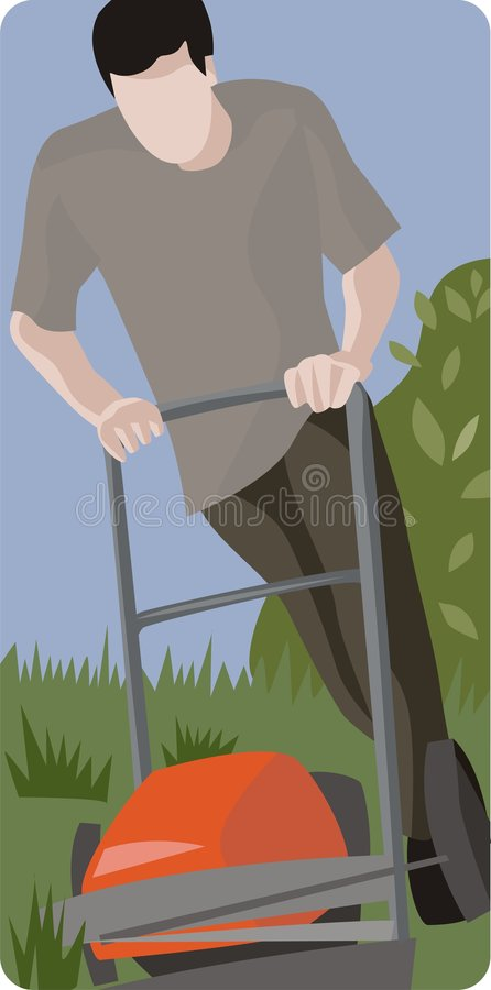 Man Mowing a Lawn vector illustration