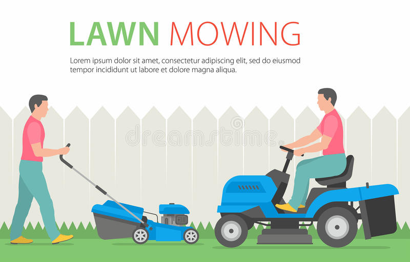 Man mowing the lawn with blue lawn mower vector illustration