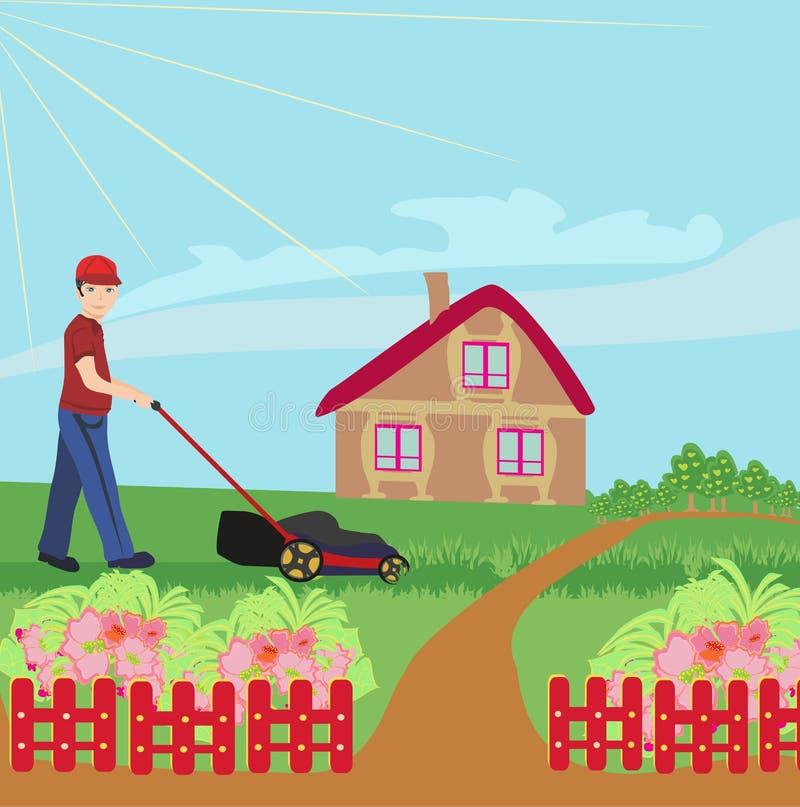 Man mowing the lawn. Vector Illustration vector illustration