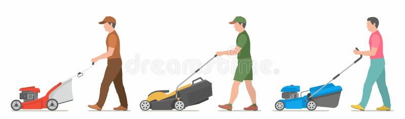 Man Mowing Lawn. Vector illustration flat design royalty free illustration